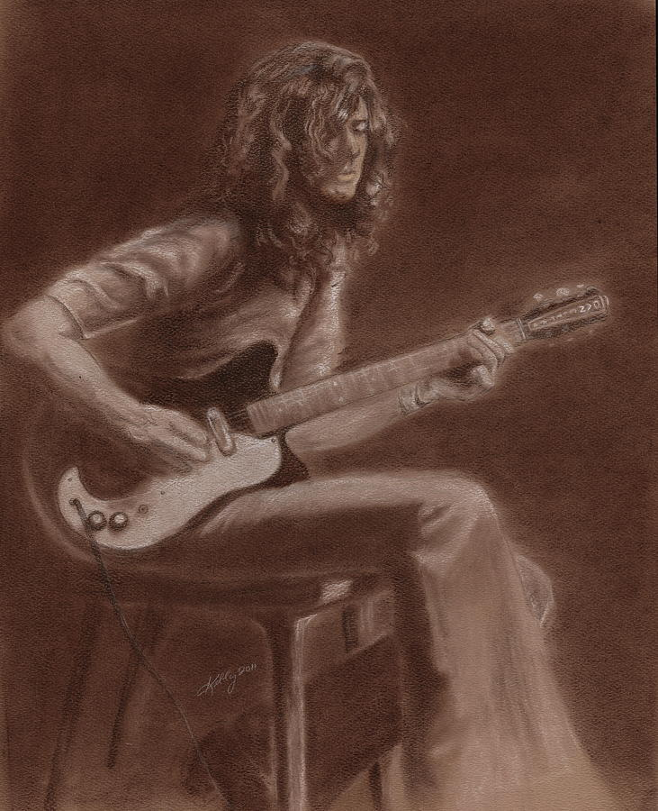 Jimmy Page Portait Drawing - Jimmy Page by Kathleen Kelly Thompson