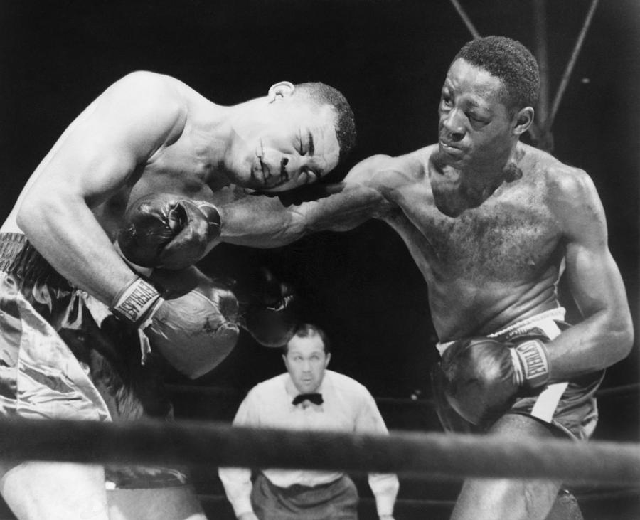 History Photograph - Joe Louis Left, Takes A Hard Right by Everett
