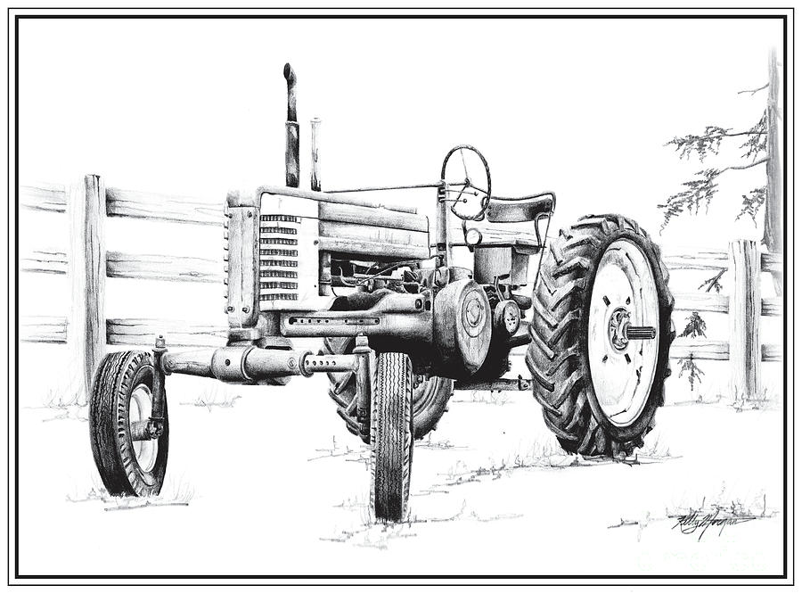 John Deere Tractor Drawing By Kelly Morgan