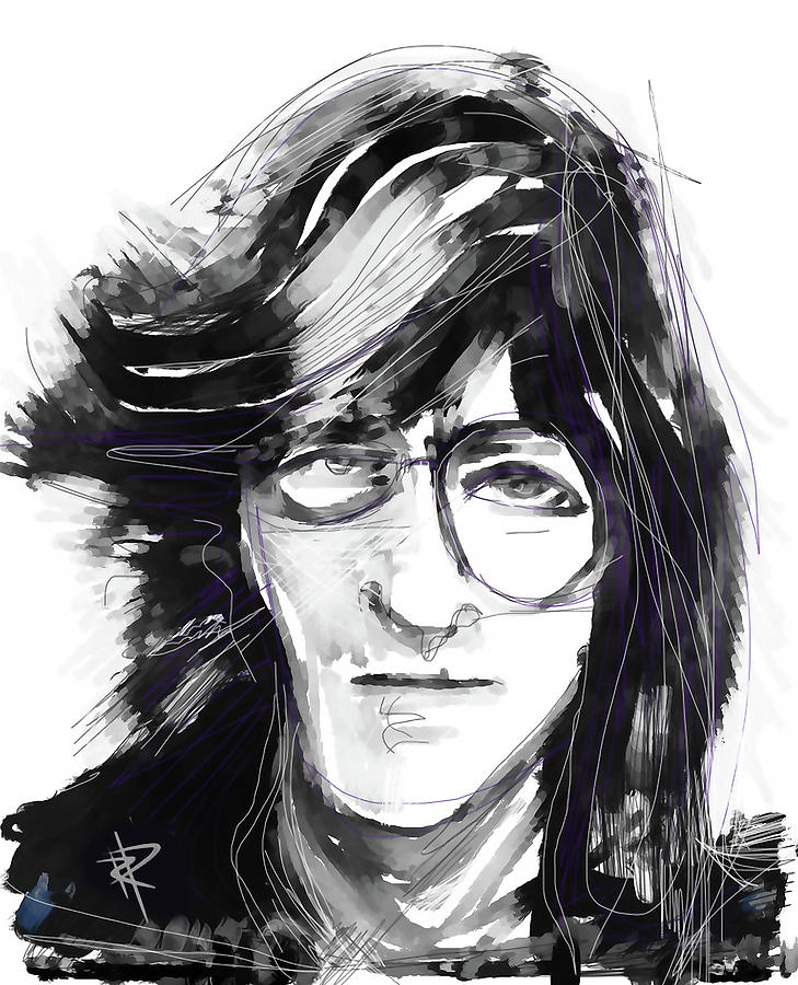 The Beatles Digital Art - John by Russell Pierce