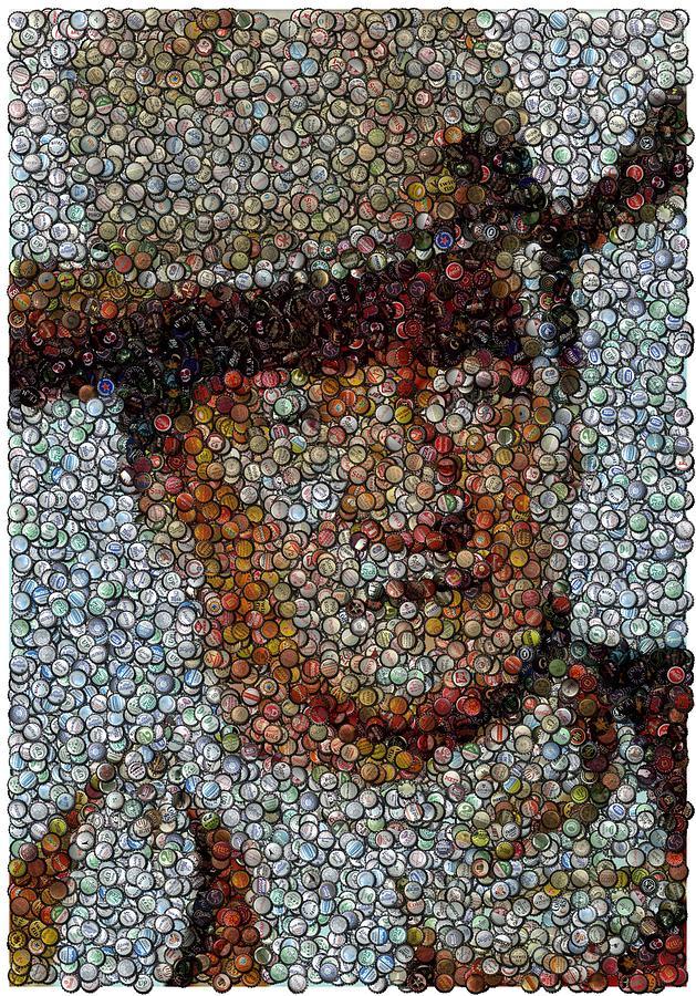 Duke Digital Art - John Wayne Bottle Cap Mosaic by Paul Van Scott