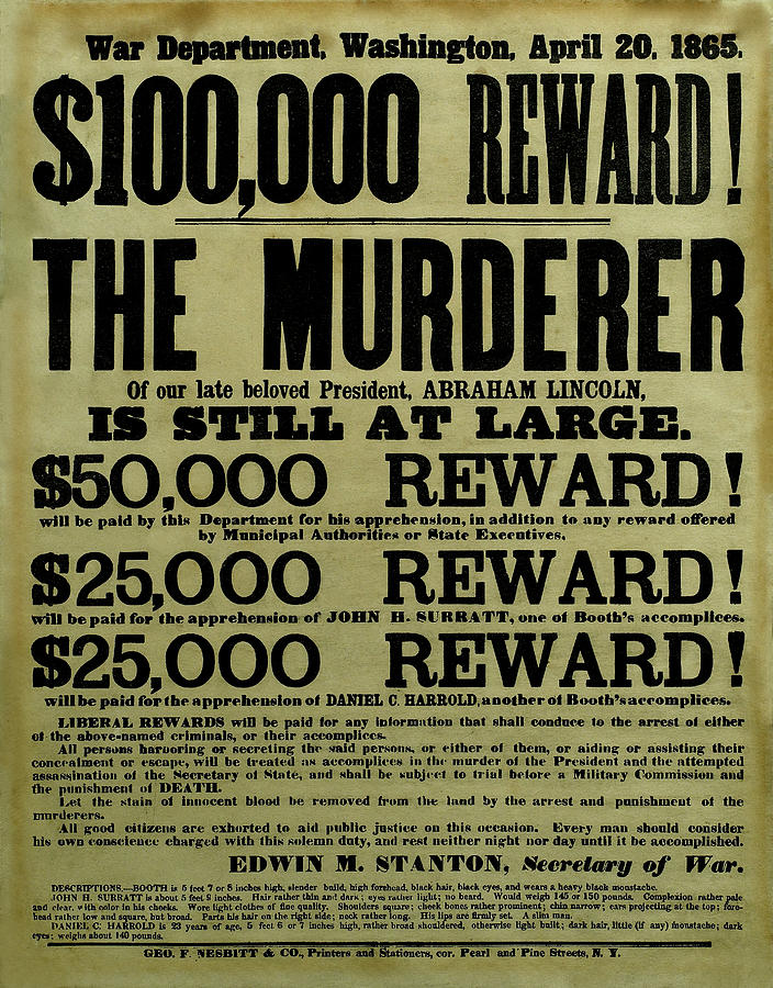 John Wilkes Booth Wanted Poster Drawing