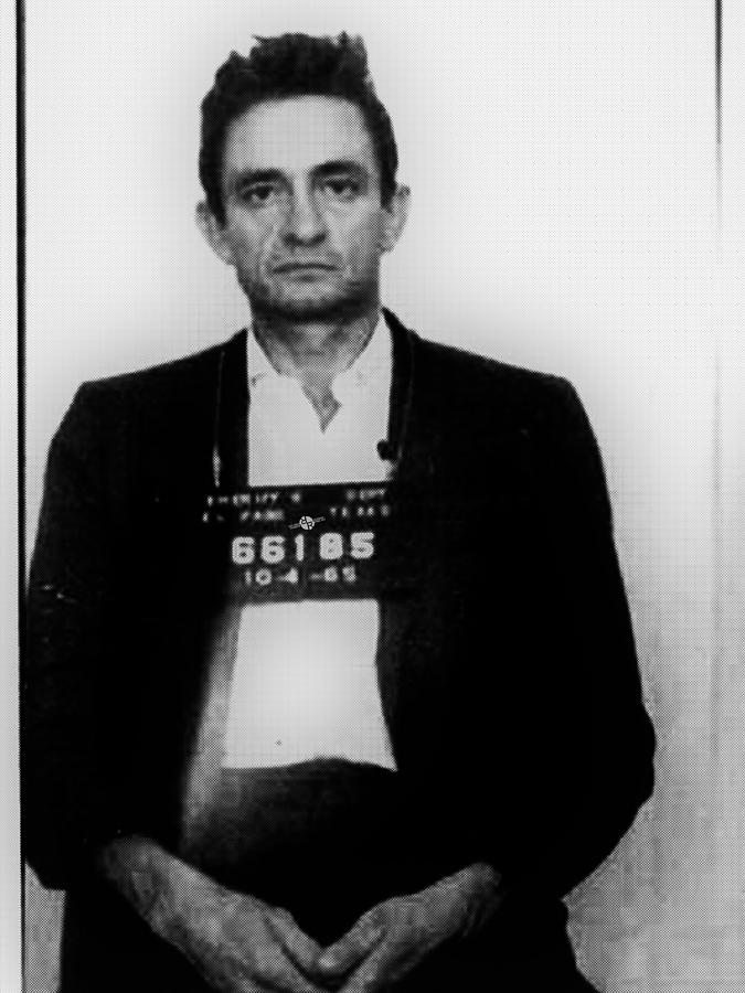 Johnny Cash Mug Shot Vertical Painting By Tony Rubino