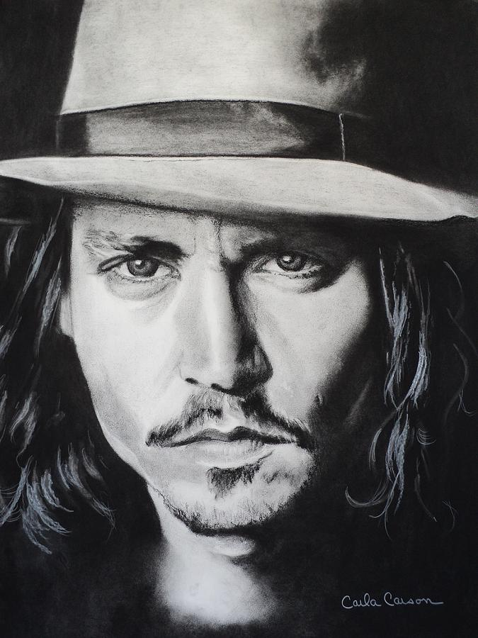 Charcoal Drawing - Johnny Depp by Carla Carson