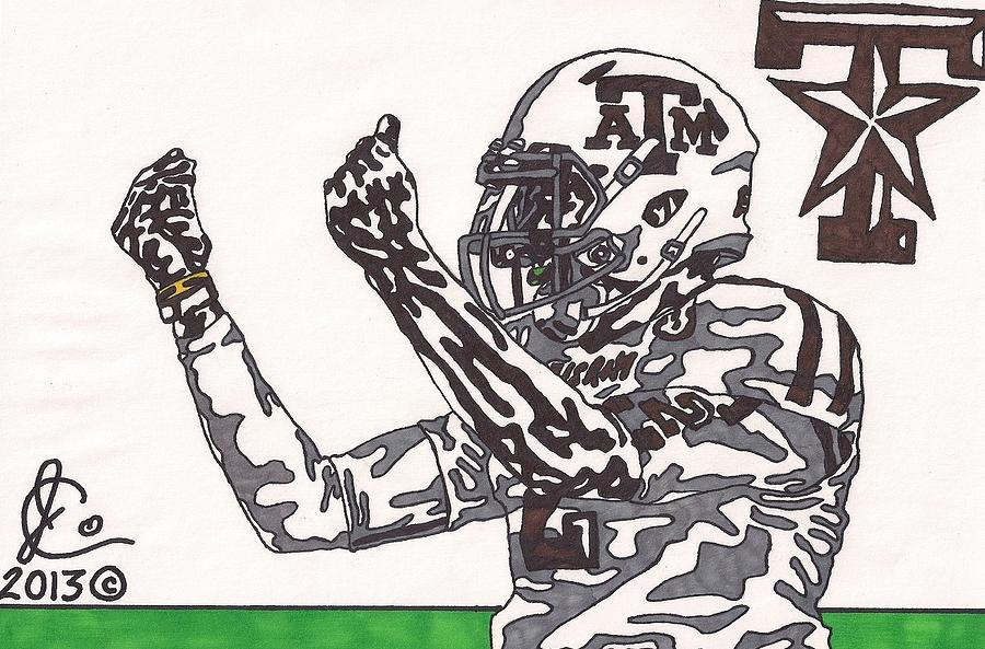 American Football Drawing - Johnny Manziel 10 Change The Play by Jeremiah Colley