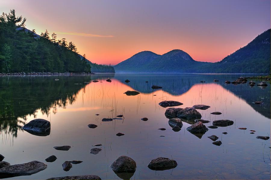 Jordan Pond Photograph - Jordan Pond At Sunset by Thomas Schoeller