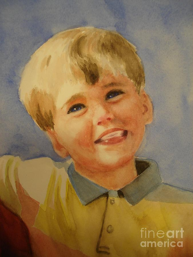 Boy Painting - Joshuas Brother by Marilyn Jacobson