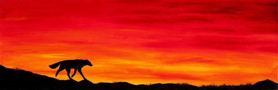 Wolf Canine Dog Fox Coyote Sunset Sundown Dusk Home Silhouette Red Sky Clouds Painting - Journey Home by Beth Davies