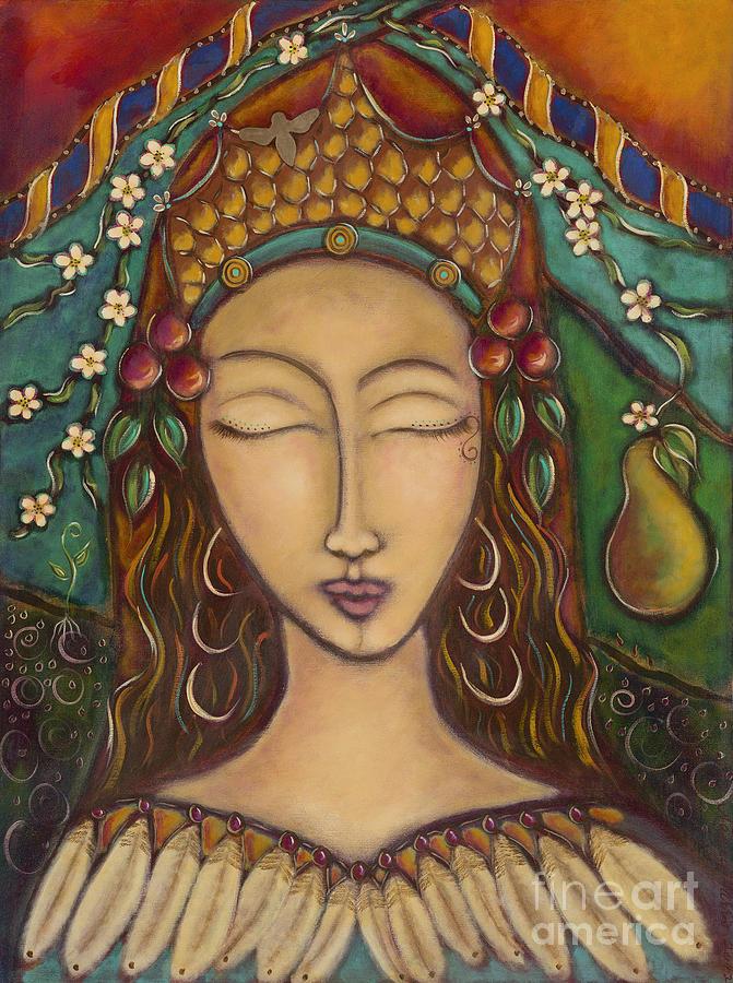 Joy Painting - Joy And The Pear Tree by Nancy Harris