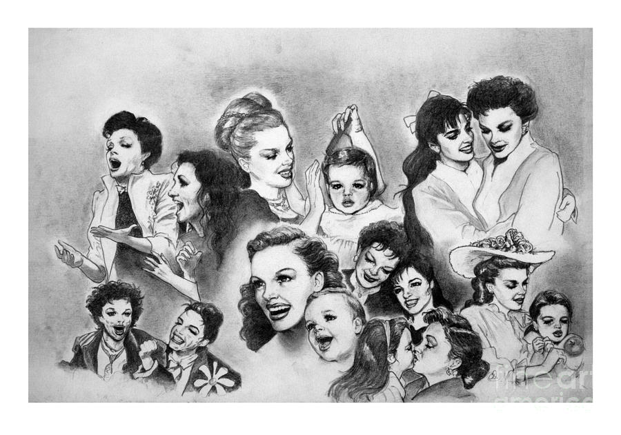 Judy Garland Drawing - Judy And Liza by Carl Wolfe
