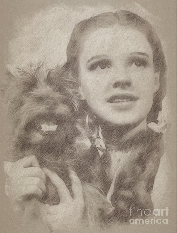 Judy Garland Vintage Hollywood Actress As Dorothy In The Wizard Of Oz Drawing