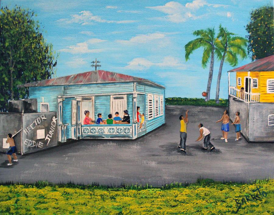 Puerto Rico Painting - Juegos De Mi Infancia  by Gloria E Barreto-Rodriguez