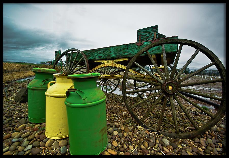 Milk Photograph - Jugs And Wagon by Dale Stillman