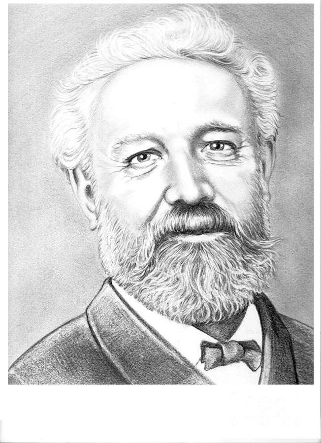 Jules Verne Drawing - Jules Verne by Murphy Elliott