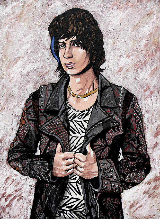 The Strokes Painting - Julian Casablancas White by Sarah Crumpler