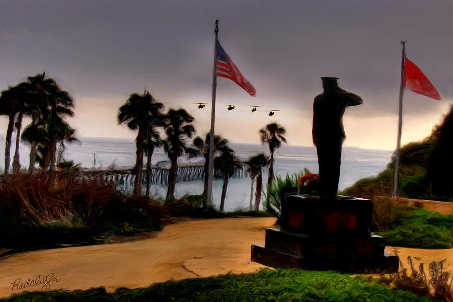 Marine Corps Painting - July 4th San Clemente Flyover by Barbara Radcliffe