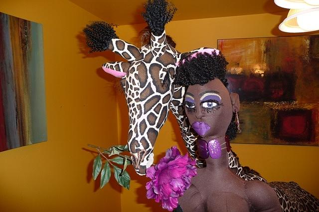 Handmade Giraffe Sculpture - Jungle Beauty Queen And Giraffe by Cassandra George Sturges