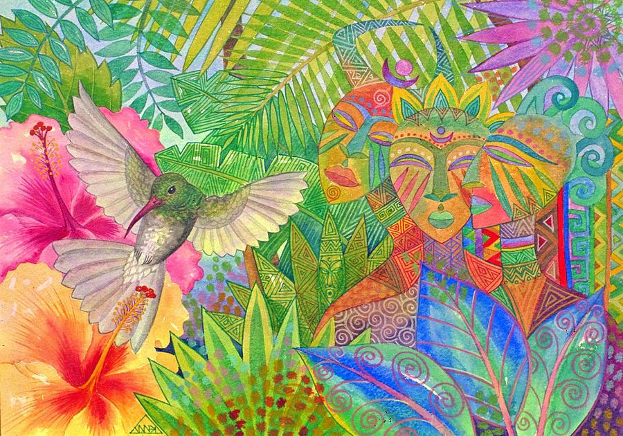 Tropical Exotic Jungle Wild Life Bird Spirit Masks Painting - Jungle Spirits And Humming Bird by Jennifer Baird