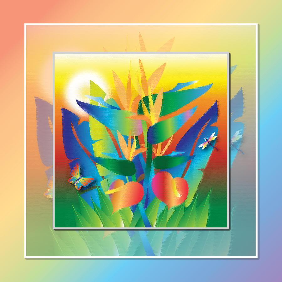 Birds Of Paradise Digital Art - Jungle Sunset by Jack Potter