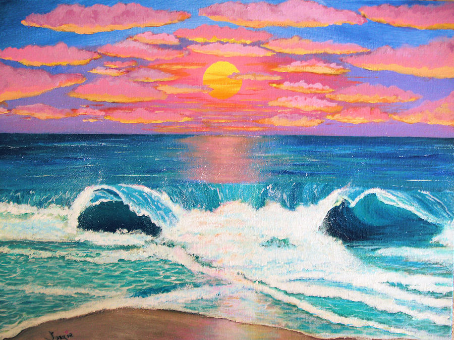 Painting - Just Another Red Sky Day by Just Joszie