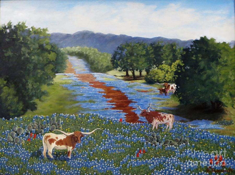 Longhorn Painting - Just Hangin Out by Beverly Theriault