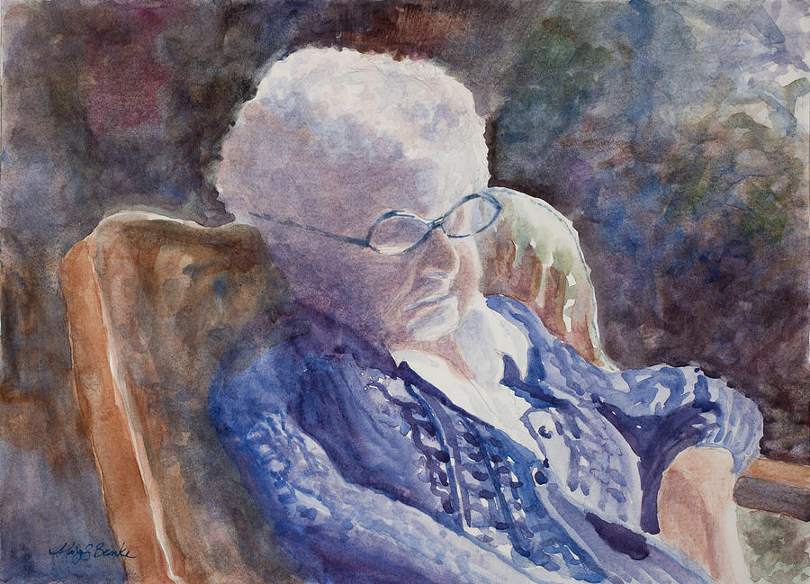 Woman Painting - Just Resting My Eyes by Mary Benke