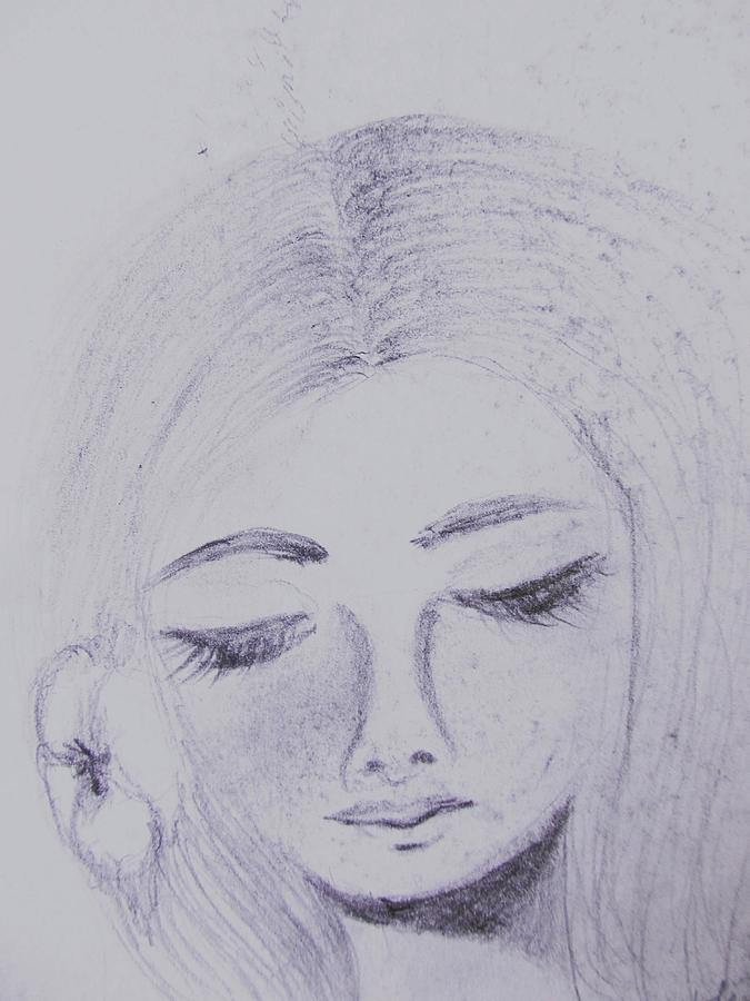 Pencil Sketch Drawing - Just Thinking by Trilby Cole