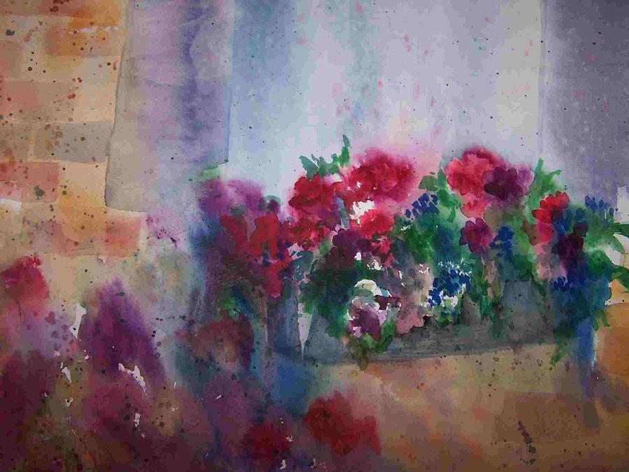 Sandy Collier Painting - Juttas Windowbox by Sandy Collier