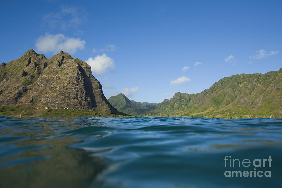 Adventure Photograph - Kaaawa Valley From Ocean by Dana Edmunds - Printscapes