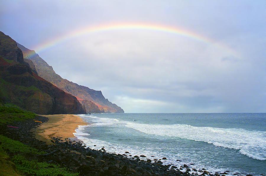 Rainbow Photograph - Kalalau Beach Rainbow by Kevin Smith