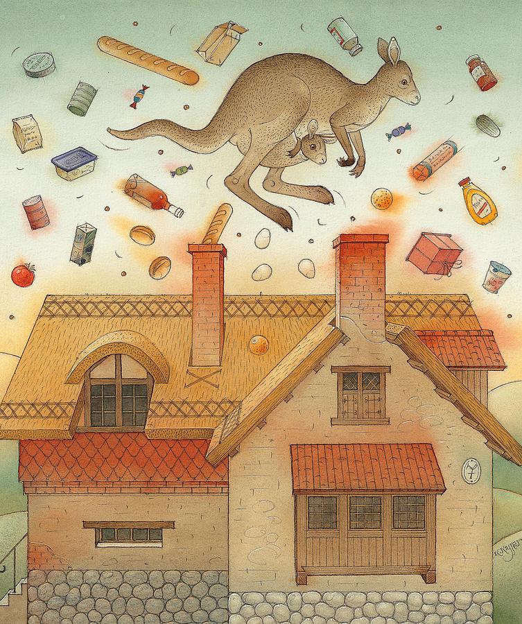 Kangaroo Animals Australia House Goods Food Jumping Painting - Kangaroo by Kestutis Kasparavicius