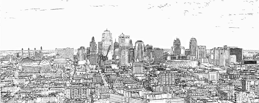 Line Art Ks : Kansas city skyline line photograph by c h apperson