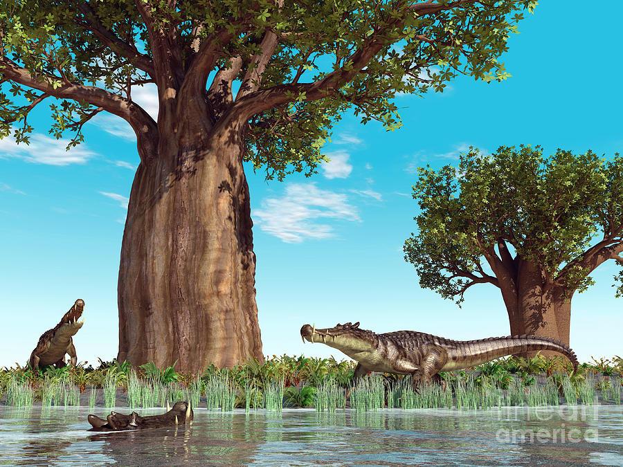 Kaprosuchus Crocodyliforms Digital Art
