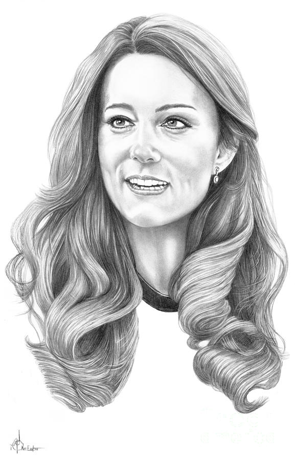 Pencil Drawing - Kate Middleton Catherine Duchess Of Cambridge by Murphy Elliott