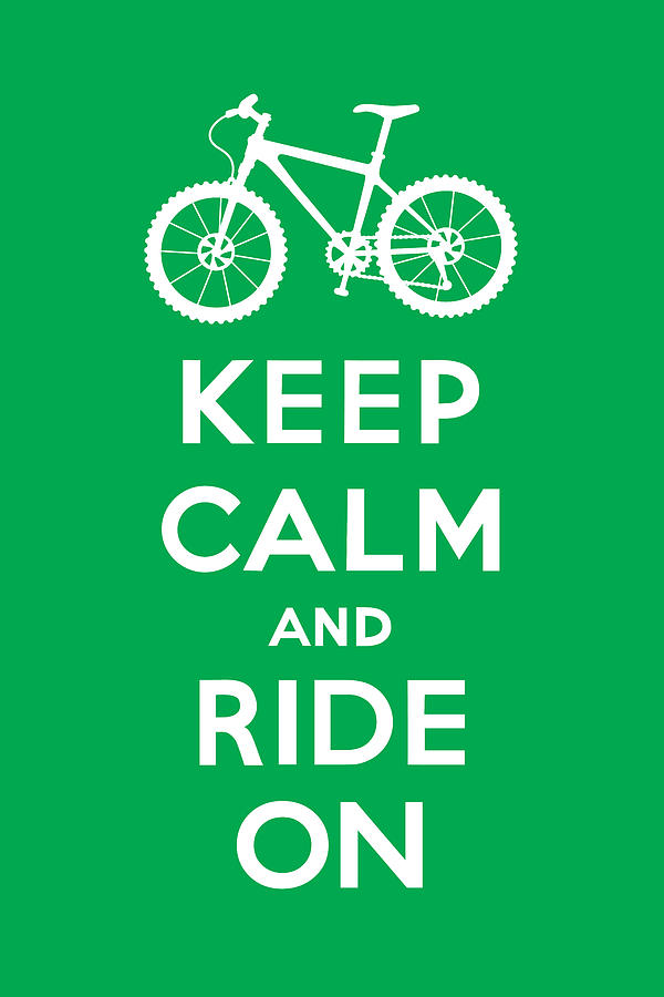 Andi Bird Digital Art - Keep Calm And Ride On - Mountain Bike - Green by Andi Bird
