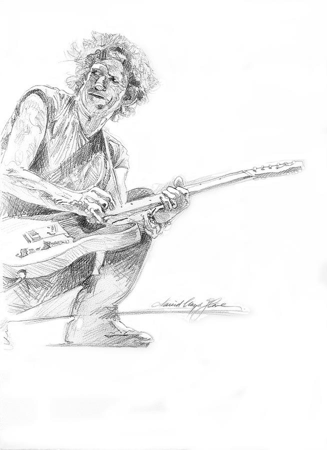 Keith Richards  Fender Telecaster Drawing by David Lloyd Glover