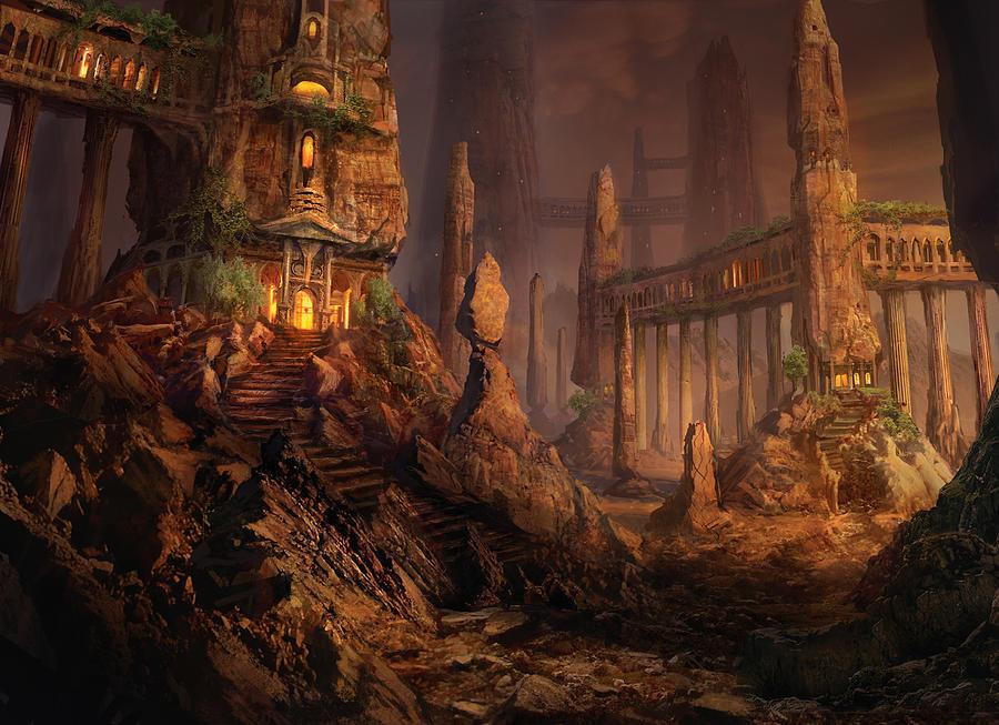 Magic The Gathering Mixed Media - Keldon Megolith by Philip Straub