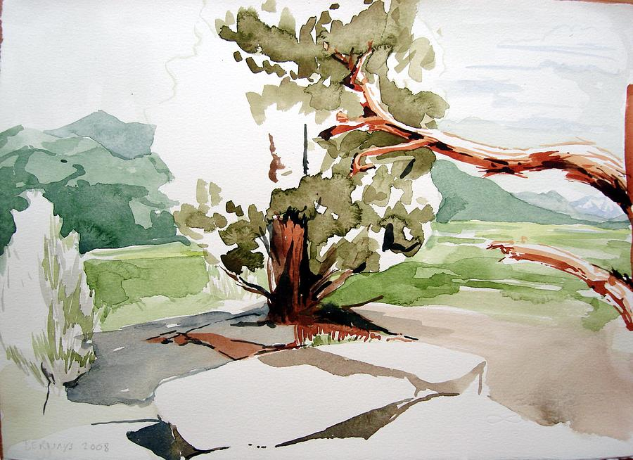 High Desert Landscape River Blue Mountains Outdoors Rural Wildlife Red Green Trees Rocks Nature Painting - Kennedy Meadows Tree by Amy Bernays