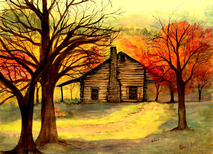 Kentucky cabin painting by gail kirtz for Log cabin painting