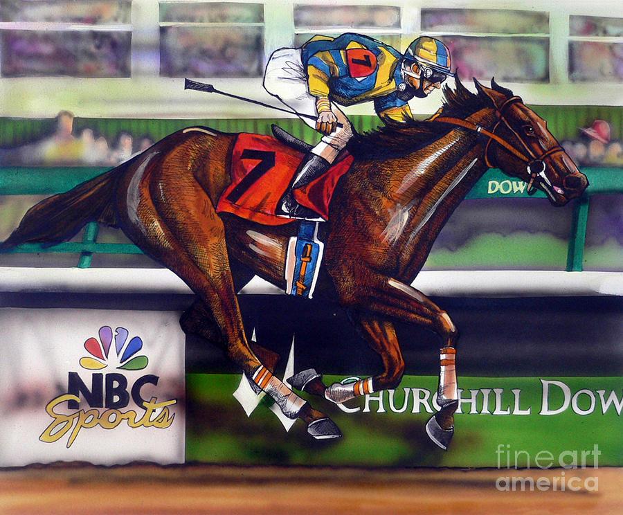 Horse Racing Painting - Kentucky Derby Winner Street Sense by Dave Olsen