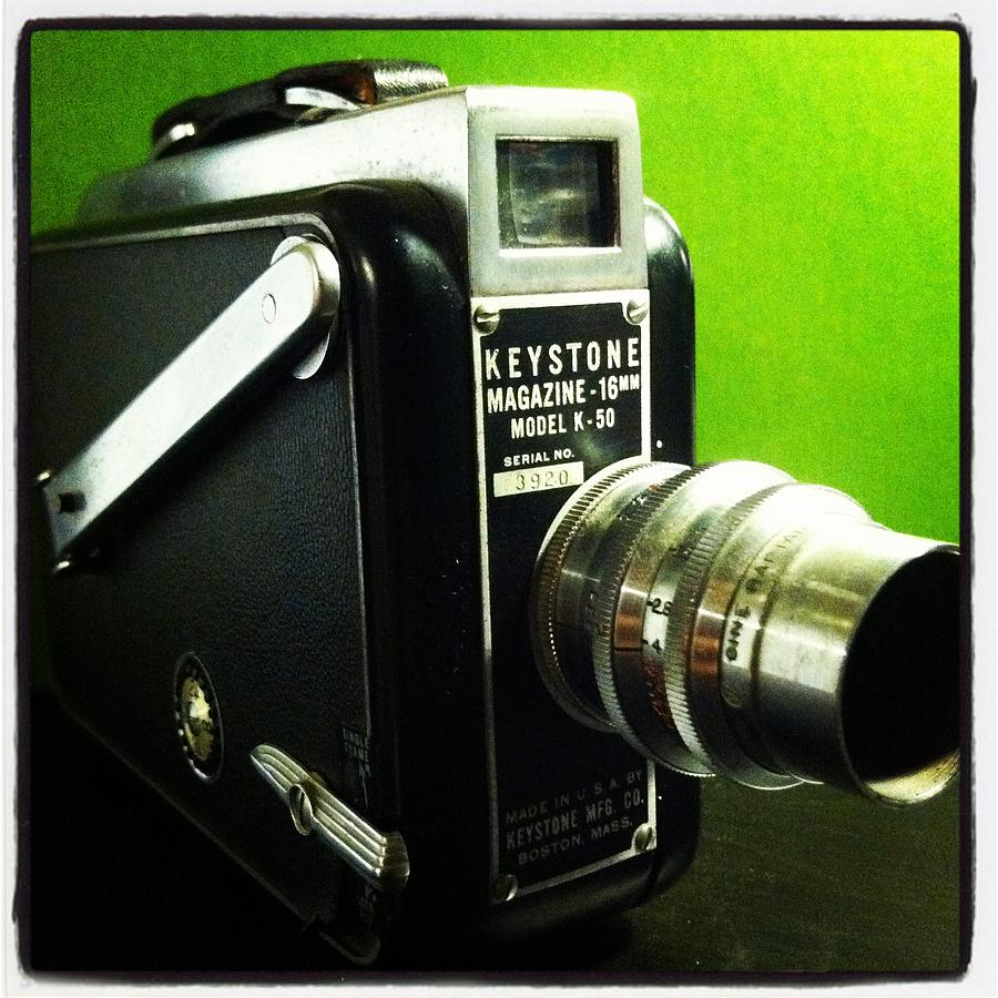 Keystone K50 16mm  Hand Crank Vintage Camera Film Lens Black Green Silver Polished  Dial Movie Aperture F Stop Viewfinder Made In Usa Boston Mass Single Frame Lock Run Art Fun Telephoto Macro  Photograph - Keystone K50 by Gabe Arroyo