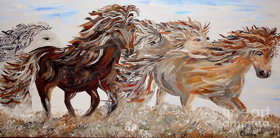 Horse Painting - Kicking Up Dust by Eloise Schneider