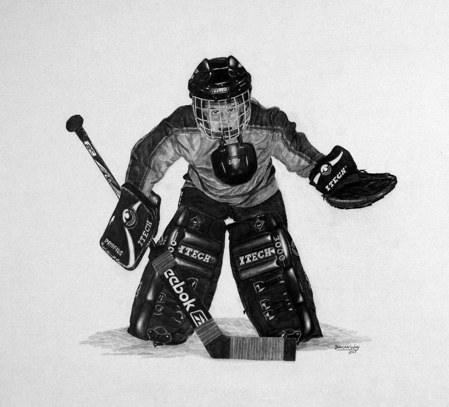 Goalie Drawing - Kindergoalie by Duncan  Way
