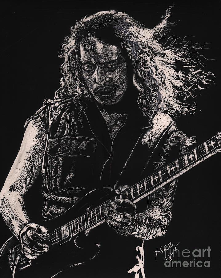Kirk Hammett Poster Drawing - Kirk Hammett by Kathleen Kelly Thompson