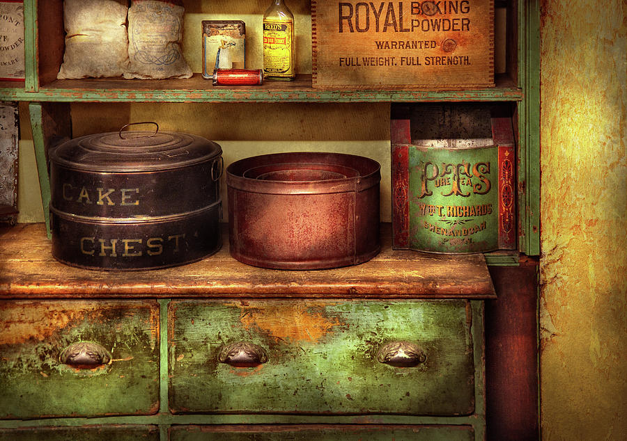 Suburbanscenes Photograph - Kitchen - Food - The Cake Chest by Mike Savad