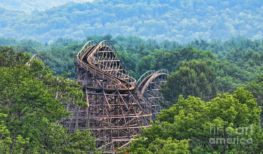 Wooden Roller Coaster Photograph - Knobels Wooden Roller Coaster  by Paul Ward