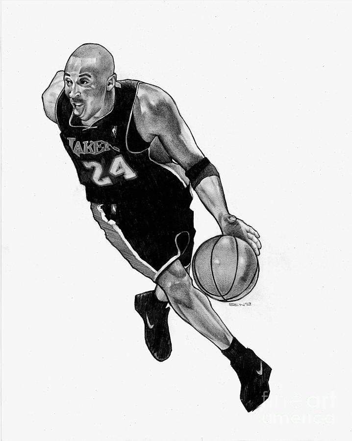 Lakers Drawing - Kobe by Ben Henderson