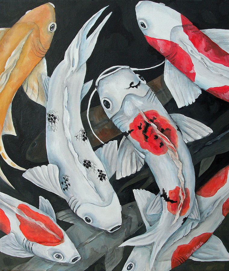 Koi 9 fish painting by nicole werth for American koi fish