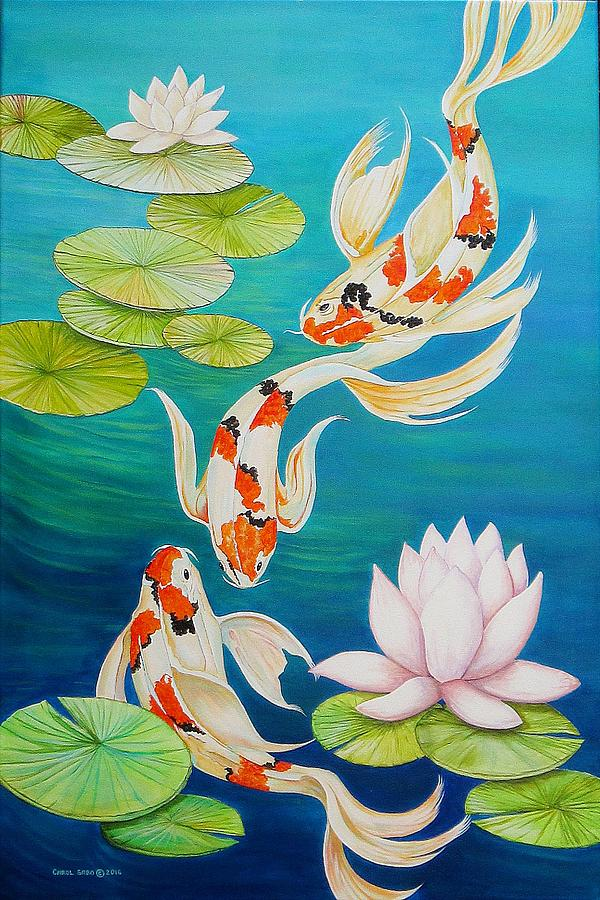 Koi fish pond painting by carol sabo for Koi fish pond lotus