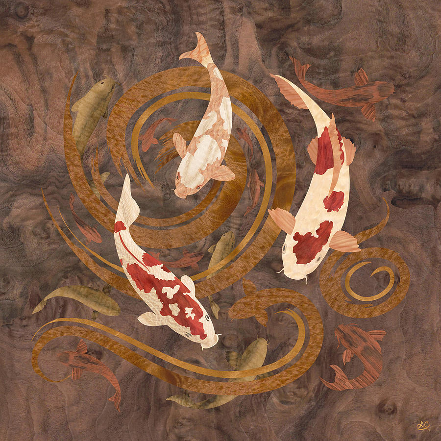 Koi fish wood art mixed media by vincent doan for Koi fish artwork
